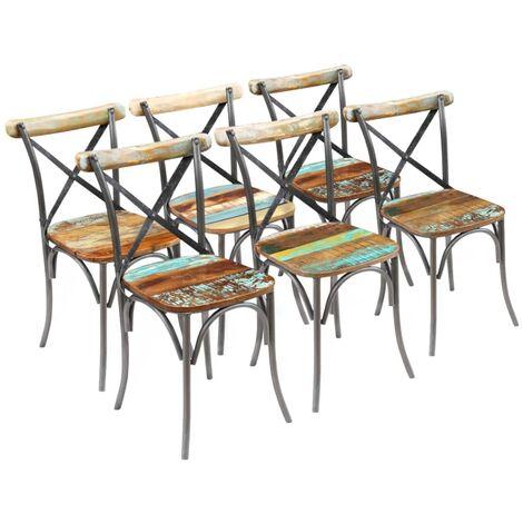 Chaises de salle à manger 6 pcs Bois de récupération massif