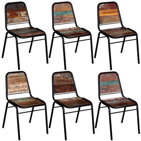 Chaises de salle à manger 6 pcs Bois de récupération solide