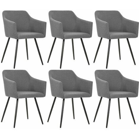Chaises de salle à manger 6 pcs Gris clair Tissu