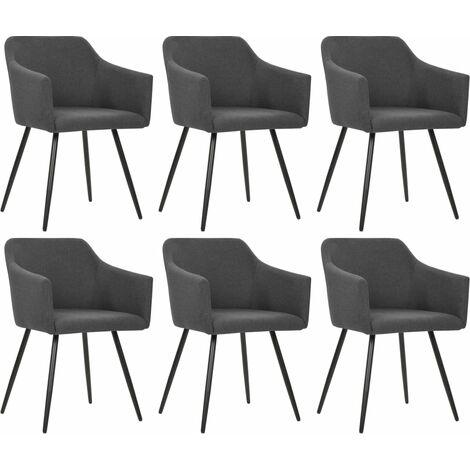 Chaises de salle à manger 6 pcs Gris foncé Tissu