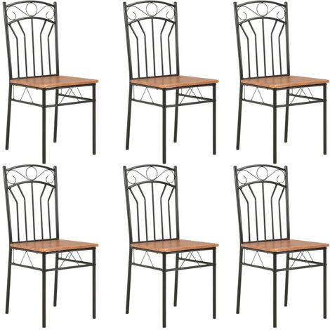 Chaises de salle à manger 6 pcs Marron MDF