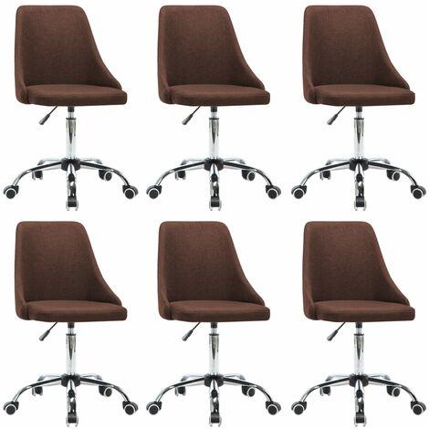 Chaises de salle à manger 6 pcs Marron Tissu