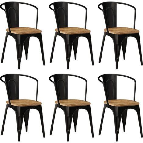 Chaises de salle à manger 6 pcs Noir Bois solide de manguier