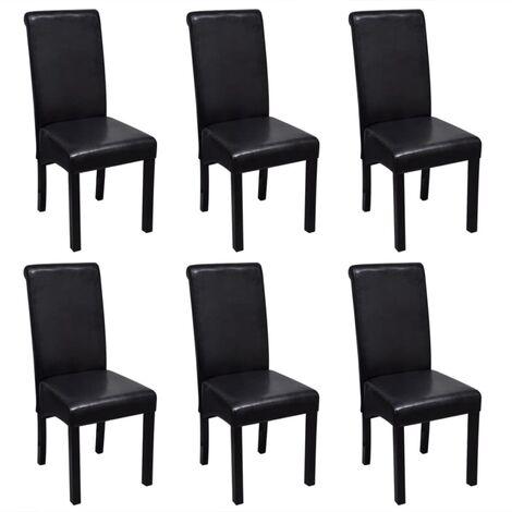 """main image of """"Chaises de salle à manger 6 pcs Noir Similicuir"""""""