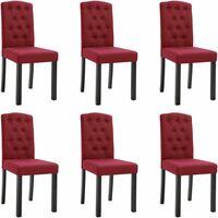 Chaises de salle à manger 6 pcs Rouge bordeaux Tissu