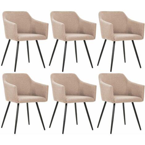 Chaises de salle à manger 6 pcs Taupe Tissu