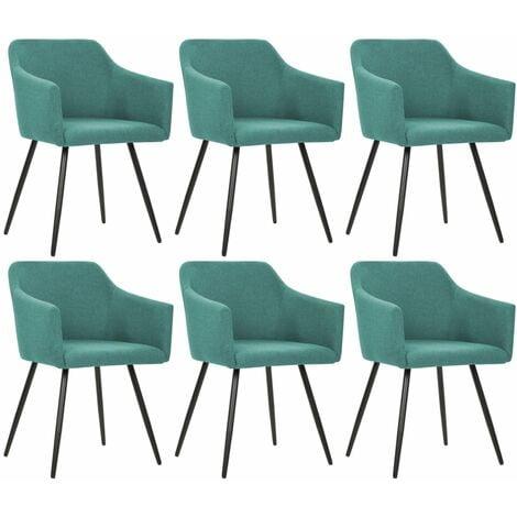 Chaises de salle à manger 6 pcs Vert Tissu