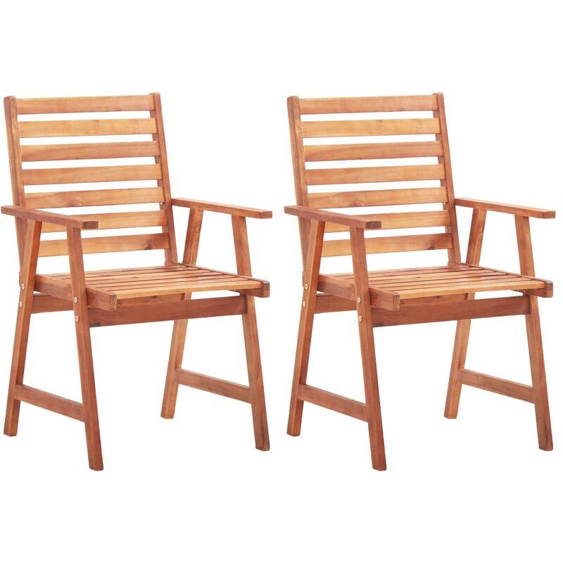 Chaises de salle à manger d'extérieur 2pcs Bois d'acacia massif
