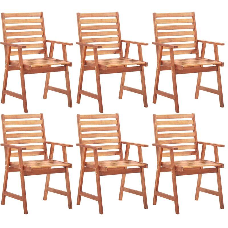 Chaises de salle à manger d'extérieur 6 pcs Acacia massif