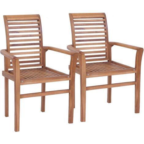 Chaises de salle à manger empilables 2 pcs Teck massif - 44664