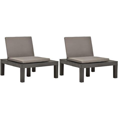 Chaises de salon de jardin et coussins 2pc Plastique Anthracite