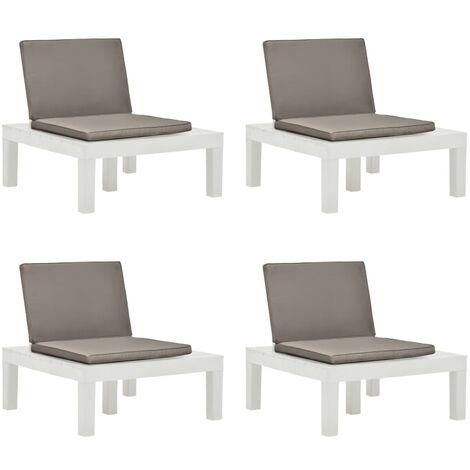 Chaises de salon de jardin et coussins 4 pcs Plastique Blanc