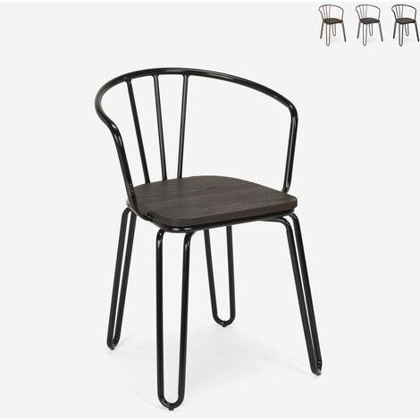 Chaises de style Tolix accoudoirs en acier design industriel pour bar et cuisine Ferrum Arm
