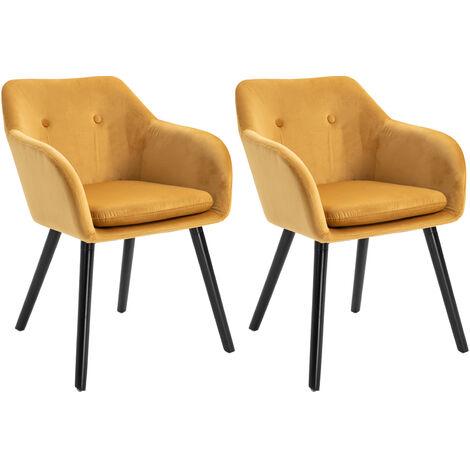 Chaises de visiteur design scandinave - lot de 2 chaises - pieds effilés bois noir - assise dossier accoudoirs ergonomiques velours gris