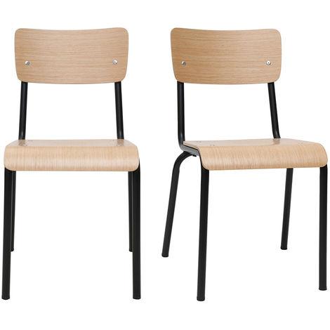 Chaises d'écoliers empilables en métal bois (lot de 2) SCHOOL