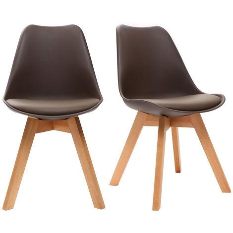Chaises design avec pieds bois (lot de 2) PAULINE