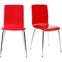 Chaises design cuisine rouges (lot de 2) NELLY