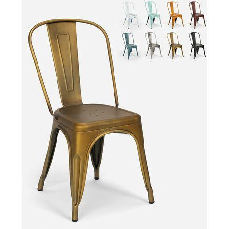 Chaises design industriel vintage en métal shabby chic style Tolix Steel Old