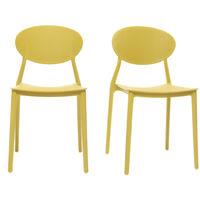 Chaises design jaune polypropylène empilables (lot de 2) ANNA