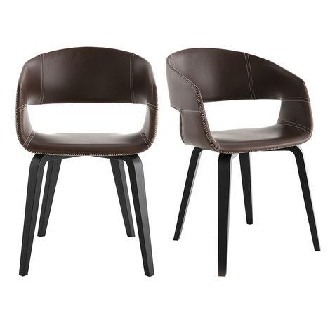 Chaises design pieds bois (lot de 2) SLAM