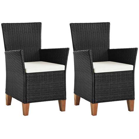 Chaises d'extérieur 2 pcs avec coussins Résine tressée Noir