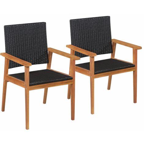 Chaises d'extérieur 2 pcs Résine tressée Noir et marron