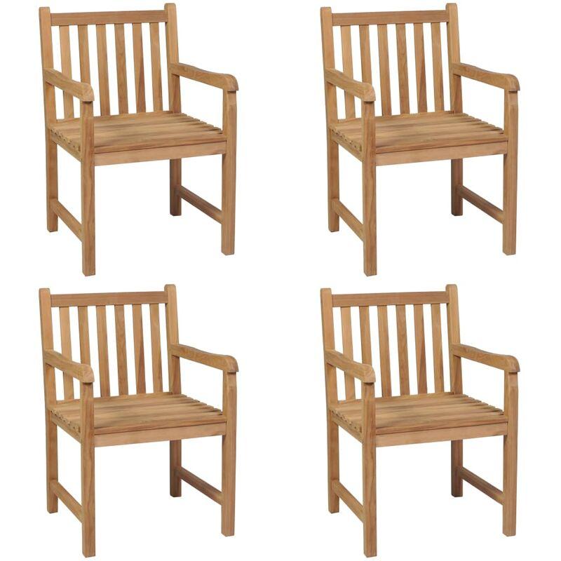 Chaises d'extérieur 4 pcs Bois de teck solide