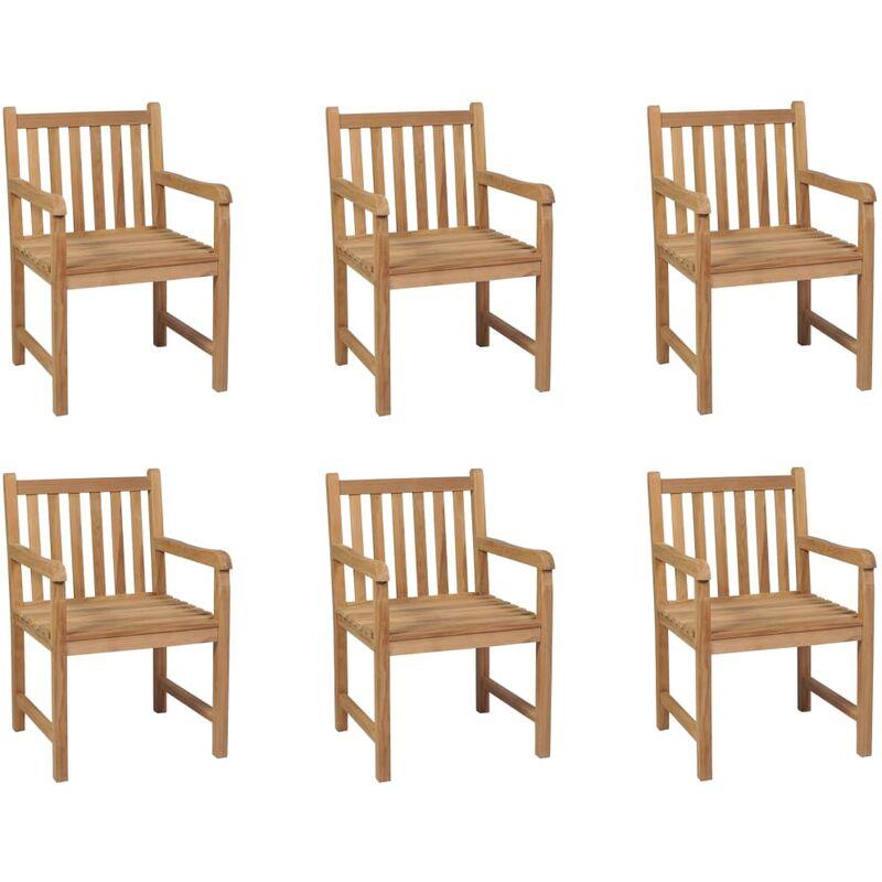 Chaises d'extérieur 6 pcs Bois de teck solide