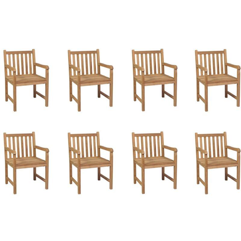 Chaises d'extérieur 8 pcs Bois de teck solide