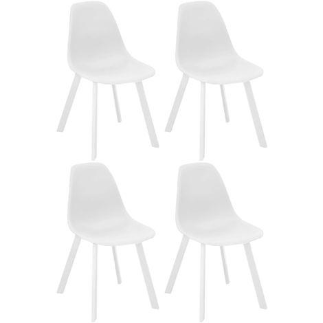 Chaises d'extérieur aluminium et résine Jato (Lot de 4) Blanc - Blanc