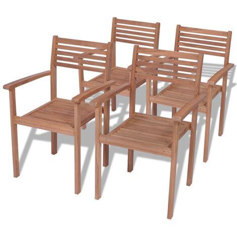 Chaises empilables de jardin 4 pcs Bois de teck solide - 43037