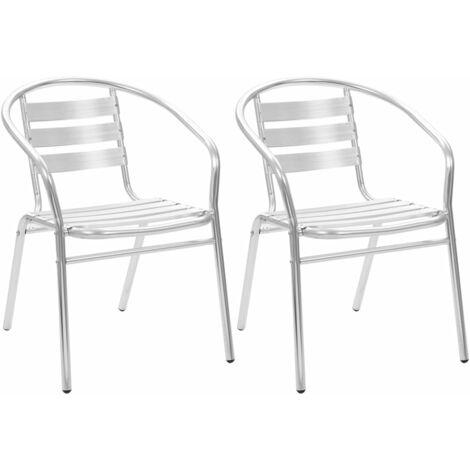 Chaises empilables d'extérieur 2 pcs Aluminium 44791