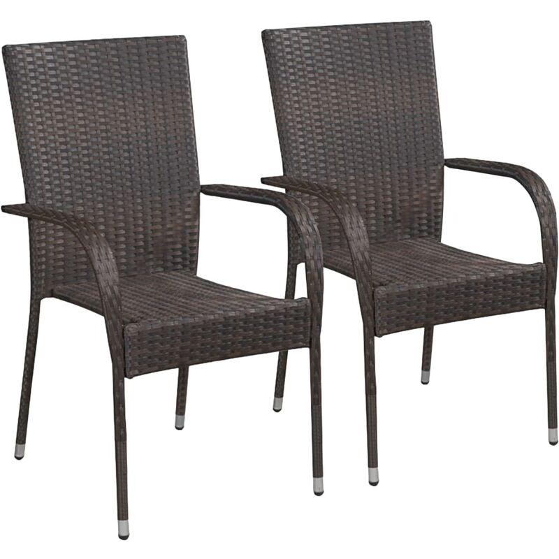 Chaises empilables d'extérieur 2 pcs Résine tressée Marron