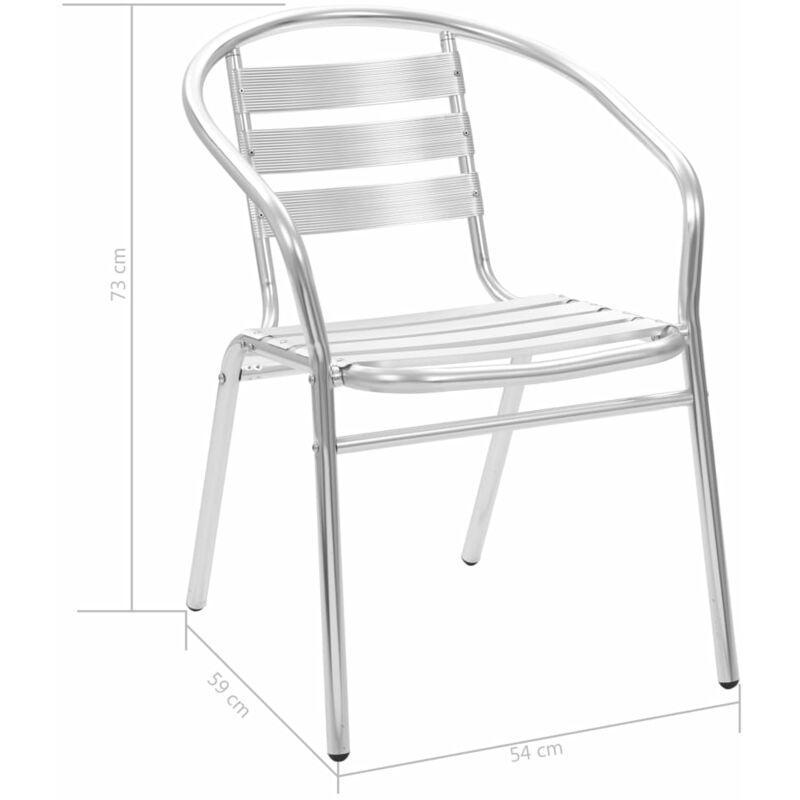 Chaises empilables d'extérieur 4 pcs Aluminium