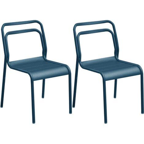 Chaises en aluminium Eos (Lot de 6) Bleu nuit - Bleu nuit