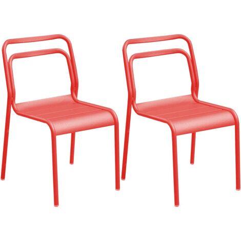 Chaises en aluminium Eos (Lot de 6) Corail - Corail