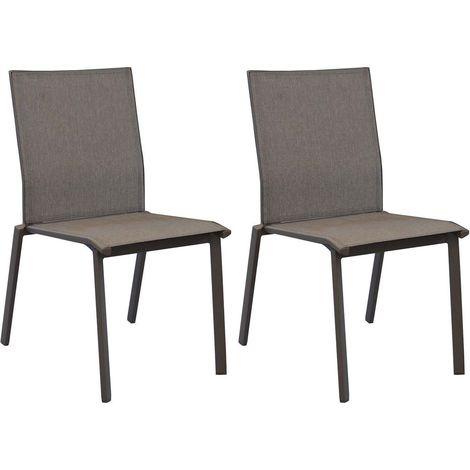 Chaises en aluminium Palma (Lot de 2) Café - Café