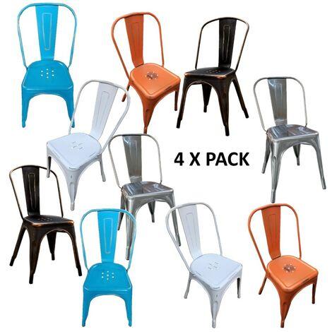 Chaises en métal de Style Industriel-Chic pour Cuisine Bistro Bistro Tolix Design MULTICOLOR N°4 PZ.