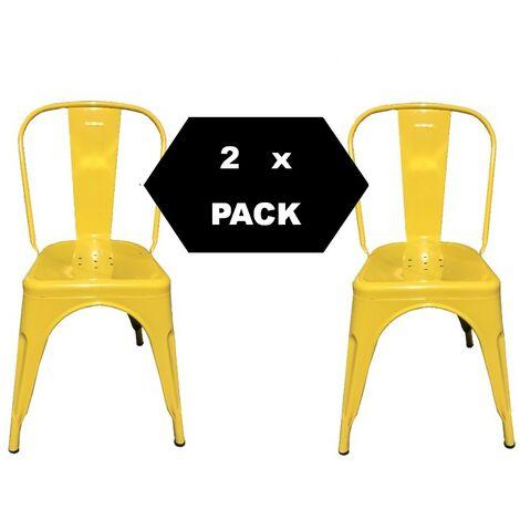 Chaises en métal de Style Industriel-Chic pour Cuisine Bistro Bistro Tolix Design n° 2 JAUNE