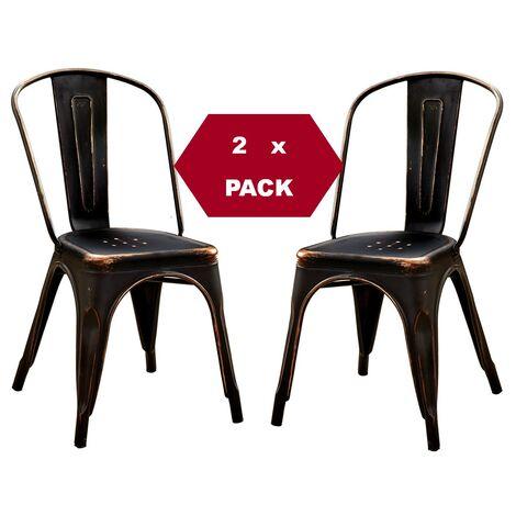 Chaises en métal de Style Industriel-Chic pour Cuisine Bistro Bistro Tolix Design n° 2 NOIR VINTAGE