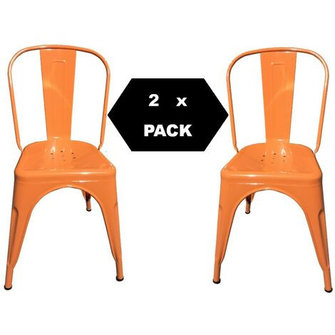Chaises en métal de Style Industriel-Chic pour Cuisine Bistro Bistro Tolix Design n° 2 ORANGE