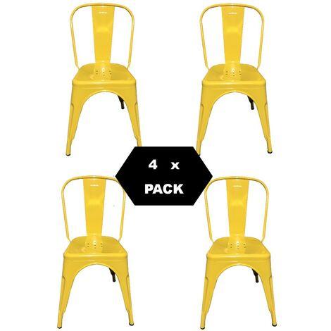 Chaises en métal de Style Industriel-Chic pour Cuisine Bistro Bistro Tolix Design n° 4 JAUNE