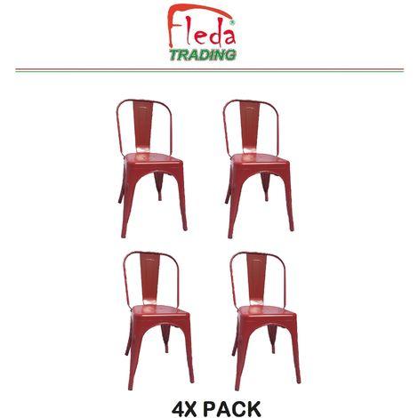 Chaises en métal de Style Industriel-Chic pour Cuisine Bistro Bistro Tolix Design n° 4 ROUGE