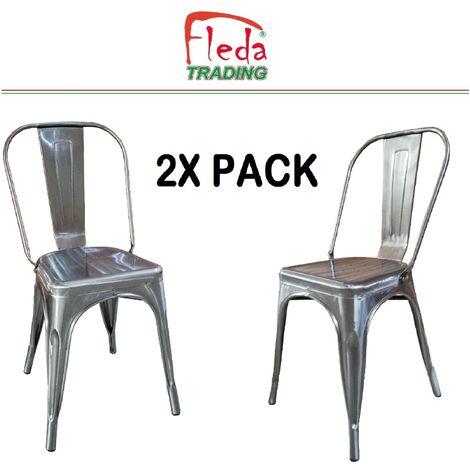 Chaises en métal de Style Industriel-Chic pour Cuisine Bistro Bistro Tolix Design n°2 ALUMINIUM GRIS