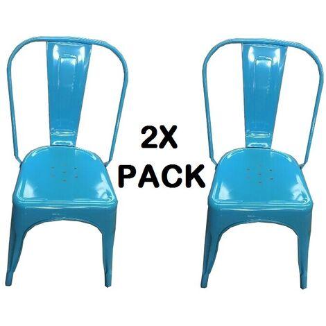 Chaises en métal de Style Industriel-Chic pour Cuisine Bistro Bistro Tolix Design n°2 BLEU