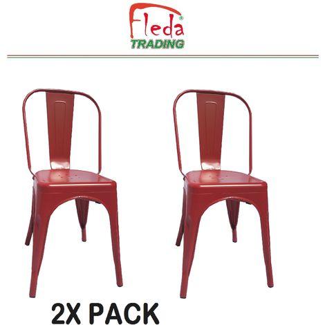 Chaises en métal de Style Industriel-Chic pour Cuisine Bistro Bistro Tolix Design n°2 ROUGE