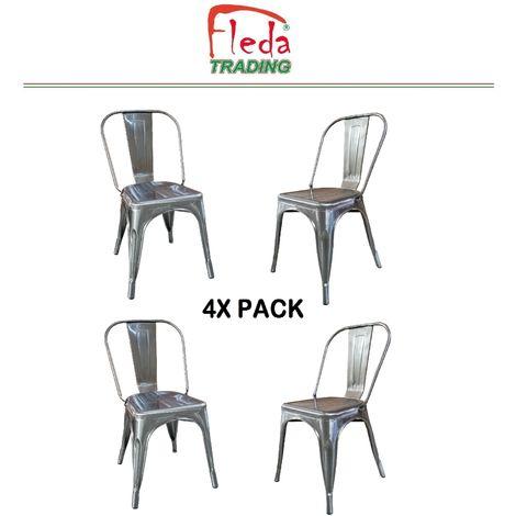 Chaises en métal de Style Industriel-Chic pour Cuisine Bistro Bistro Tolix Design n°4 ALUMINIUM GRIS