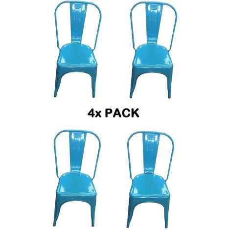 Chaises en métal de Style Industriel-Chic pour Cuisine Bistro Bistro Tolix Design n°4 BLEU