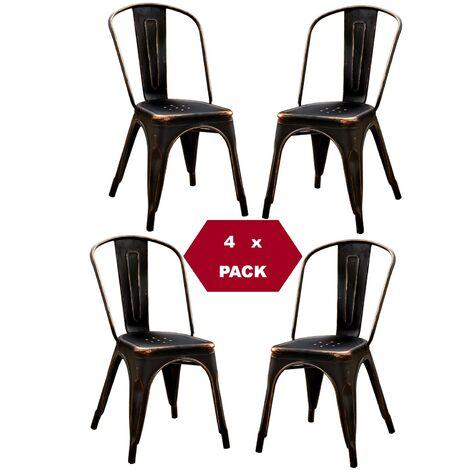 Chaises en métal de Style Industriel-Chic pour Cuisine Bistro Bistro Tolix Design n°4 NOIR VINTAGE