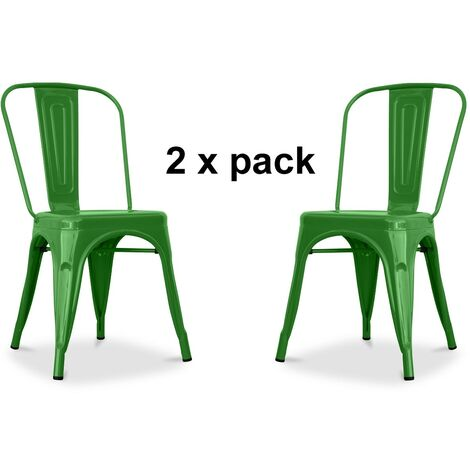 Chaises en métal Style Industriel-Chic Cuisine Bistro Tolix Design n°2 vert brillant